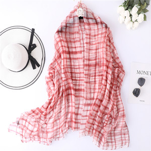 Designer Brand Women Scarf Summer Plaid Print Silk Shawls And Wraps Lady Pashmina Beach Stoles Foulard Lady Neck Hijabs