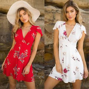 새로운 패션 여성 보헤미안 꽃 프린트 쉬폰 여름 파티 저녁 비치 반소매 V 넥 미니 드레스 sundress에