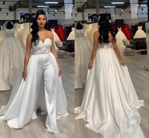 Lace Stain donne tuta da sposa con gonna rimovibile 2020 senza spalline Abiye sposa abiti da sposa con Suit Pant Deane Lita