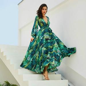 Vestito lungo dal manicotto Verde Tropical Beach Abiti Boho maxi Vintage casual scollo a V Belt Lace Up tunica drappeggiato Dress Plus Size