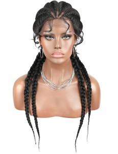 26 pulgadas trenzado pelucas sintéticas del frente del cordón peluca para mujeres Negro Box Braid Peluca Afro Americana de Mujeres pelucas peluca de imitación Locs