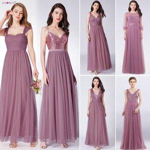 Dust Pink Bridesmaid Dresses Long Ever Pretty Women Elegant Dresses For Weddings Party Guest Gowns Vestido De Festa Longo 2019 Y200109