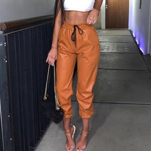 Harem pantalones para mujer para mujeres de piel sintética de cintura alta cintura joggers jogging fondos pantalones pantalones spodnie damskie wysoki stan