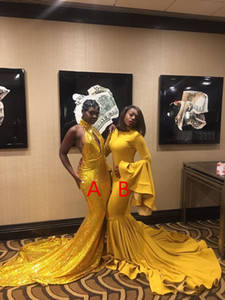 Yellow Two Piece Mermaid Prom Dresses New Sweep Strain A B Style High Neck Sequined Formal Evening Gowns Party Dresses
