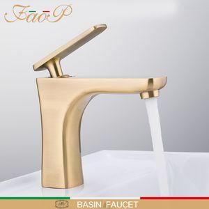 FAOP Bassin-Hahn-Wasserhähne golden Wannenhahn Spültischbatterie für Badezimmer-Mischer Wasserfall Armaturen tap griferia