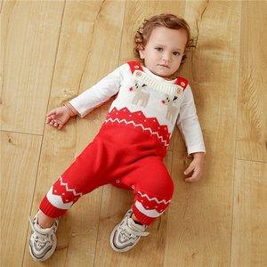 Newborn Kid neonate del ragazzo di Natale abiti maglia del pagliaccetto maglione Outfit tuta