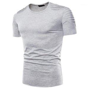 Mens Casual Tees Giyim Kısa Sleeve Erkek Yaz Hommes Saf Renk Mens Tasarımcısı Tshirts Pileli Tops