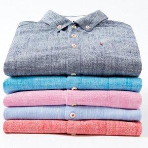 Англия стиль мужская мода сплошной цвет хлопок льняные рубашки Camisa, сплошной цвет отложной воротник удобные Slim Fit рубашки ткань CX200620