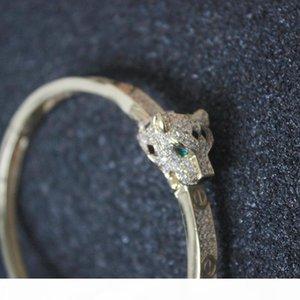 Leopard Bracelets Women Luxury Design Nail Jewelry Animal Diamond Bangles Charms Party Wedding Fine Jewelry