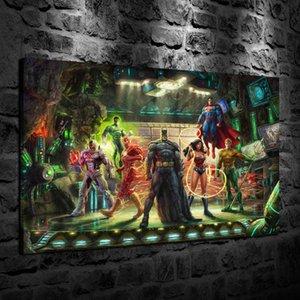 HD Impreso Thomas Kinkade Pintura al óleo Decoración del hogar Arte de la pared en lienzo The Justice League Sin marco