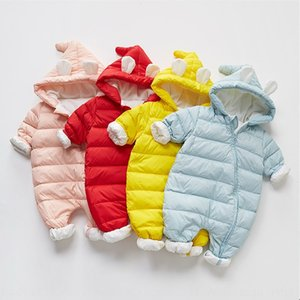 Baby down jacket jump newborn male and female baby out jumpsuit winter thickened Down jacket Body clothes body clothes climbing suit