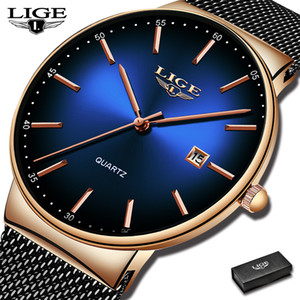 Top Brand Luxury LIGE Mens Watches Casual Fashion Watch Men Net with Waterproof wristwatch Analog Quartz Watch Relogio Masculino