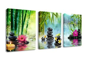 3 Panels Modern Zen Canvas Painting Wall Art Decor SPA Stone Green Bamboo Waterlily Pictures Prints Giclee Art for Home Office