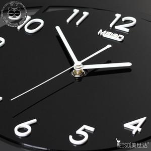 Silenciosa creativa del reloj de pared con pilas del diseño moderno grande oscilante del reloj Negro Colgando de cocina reloj de cuarzo