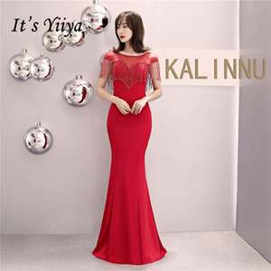 Quaste Abendkleid Es ist Yiiya DX309 Bodenlang Mermaid Short Sleeve Abendkleid Plus Size Illusion Backless Abendkleider