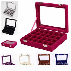 24 Grid Velvet Glass Jewelry Ring Display Organizer Box Tray Holder Earrings Storage Case Showcase Display Storage 24 Section boxes