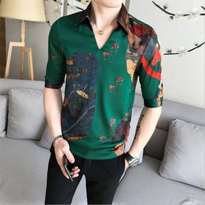 Male Half Sleeve Summer Designer Club Shirt Camisa Masculina Chemise V-Collar Chinese Style Shirt Male Slim Fit Fashion Clothes