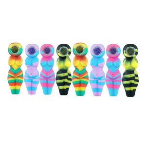 """Sexy Woman Mini Bubbler Pipe 4.1"""" Silicone Oil Burner Pipe With Glass Bowl Oil Rigs Bong Hookahs"""