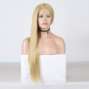 Top Quality Frontal Lace Wig Silky Straight Blonde Hair Synthetic Wig Heat Resistant Glueless Synthetic Lace Front Wig for Women
