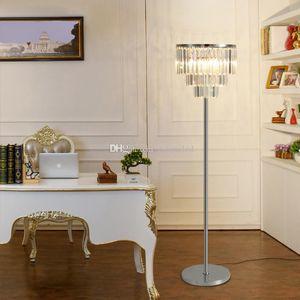 Lüks Kristal Zemin Lamba Yatak Odası Basit Modern çalışma led zemin Işık yaratıcı oturma Odası Masa Lambası Dumanlı Gri / Şeffaf