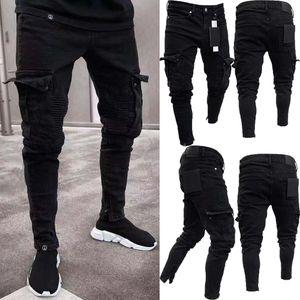 Pantalones para hombre cómodo estiramiento flacos Denim Jeans plisado de Carga Hombres Pantalones Vaqueros desgastados destruidos Casual Pantalones vaqueros del ajustado