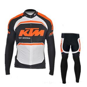 2019 ركوب الدراجات ارتداء فريق جديد KTM الدراجات جيرسي مجموعات MTB دراجة دراجة تنفس مريلة السراويل ملابس طويلة الأكمام 60313