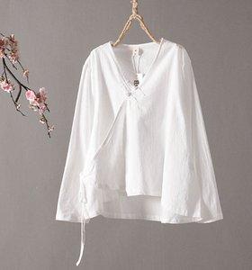 2019 vêtements pour femmes chinoises traditionnelles hanfu haut costume blouse tang chinois antique chemises de lin de cou v