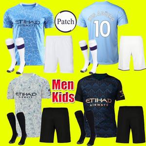 Erwachsene Kinder Kit 19 20 Manchester JESUS DE BRUYNE KUN AGUERO Fußball Trikot 2019 2020 Männer SANE MAHREZ Fußball Trikots Shirt