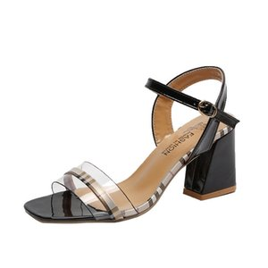 PVC Gladiator Sandals Summer Office High Heels Shoes Woman Buckle Strap Pumps Casual Women Shoes Plus Size 35-40