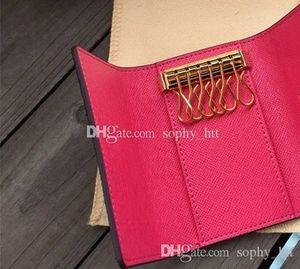Bolsa chave chaveiro de alta qualidade mulheres homens clássico 6 chaves luxo com cartão caixa de poeira chaveiro