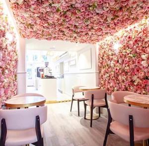 40x60cm Rose artificielle Couleurs sur mesure soie rose fleur mur décoration de mariage Toile de fond de fleurs artificielles Mur romantique EEA1587