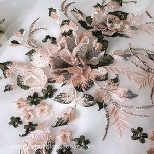 Handmade Beads 3D Wedding bridal Dress Applique DIY Bridal Headdress scarf veil Embroidered Lace Fabric Patch free shipping