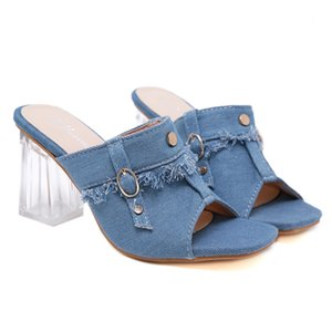 transparent blue denim chunky crystal heels slipper luxury women shoes Come Wtih Box size 35 to 40