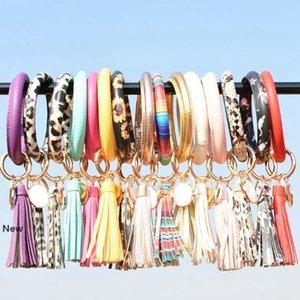 Leather Wristlet Tassel Keychain Bracelet Bangle Key Holder Key Chain Ring Leather Wrap Sunflower Key Ring Bangle Chains Wristlet KKA7744