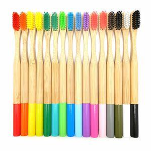 19 cm Portátil Escova De Dentes De Bambu Com Cabeça Redonda Adulto Ao Ar Livre Escovas de Viagem de Banho Suprimentos Eco Friendly Cores Mix 2 7 sx E1
