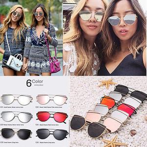 Retro Womens Mirror Sunglasses Metal Frame Golden Leg Cat Eye Shades Eyeglasses 6 Color Lens
