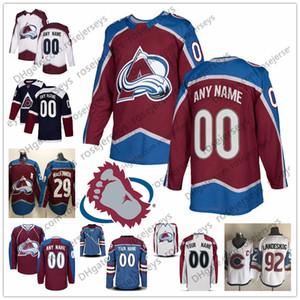 Custom Colorado Avalanche Jersey Любое число Имя мужчины женщины молодежный парень Темно-синий Белый Красный # 8 Кейл Макар Ландеског МакКиннон Беллемар Кадри