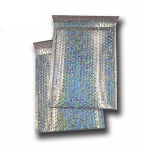 De gran tamaño 23 * 30 cm de plata láser Sobre de envío de burbujas bolsa messenger anuncios publicitarios rellenados sobres de embalaje en bolsas envía al por mayor