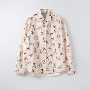 Top-Qualität Mens Designer Shirts Marke Damen Bluse Frühling Herbst Langarm over Luxus-Revers-Ansatz Art und Weise Aprikose Hemd B1 2040202V