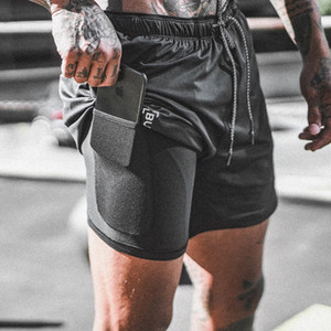 Fashion-Mens Shorts Hommes Jogging Fitness Quick Dry Summer Breathable Two Fake Marcle New Style Casual Pants
