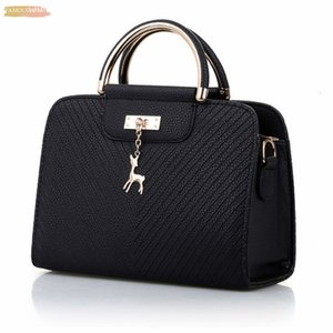Fashion Handbag 2020 New Women Leather Bag Large Capacity Shoulder Bags Casual Tote Simple Top Handle Hand Bags Deer Decor