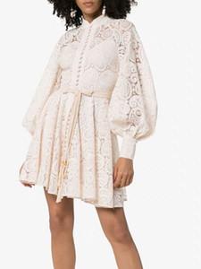 Boho 2019 de alta qualidade de luxo branco e preto passarela outono mulheres vestidos sexy lace cintura alta escavar lanterna manga longa mini com cinto
