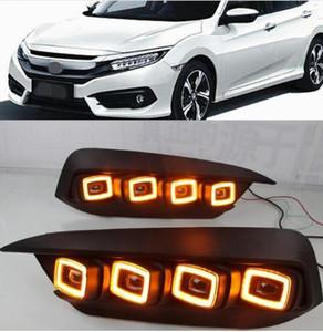 빛 혼다 시빅 2016 2017 2018 흐르는 전원을 켜고 노란색 신호 릴레이 자동차 DRL 12V LED 안개 램프를 실행 2PCS LED 주간