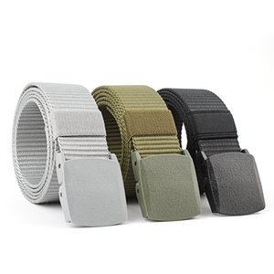 Hot Men's Nylon Canvas Woven Belt Smooth Buckle Casual Outdoor Protective Canvas Belt S834