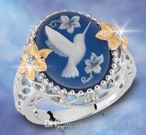 Античный 925 стерлингового серебра кольцо Голубь синий воск бриллиантовые украшения 14K Золотой цветок преувеличенные обручальное обручальное кольцо размер 5-12