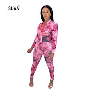 SUWA новый сексуальный принт Комбинезон женский комбинезон фестиваль Rave одежда One Piece Body Outfit Frot Zip с длинным рукавом Bodycon комбинезон