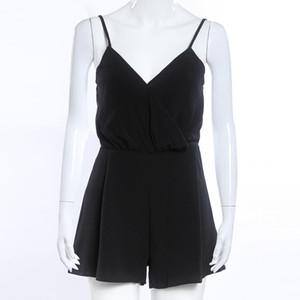 도매 섹시한 Playsuit 여성 민소매 Bodycon 블랙 EleJumpsuit 여성 여름 뛰어 돌아 다니는 여자의 V 넥 비치 점프 슈트 전체 #YL