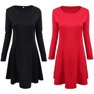 2020 Spring Popular Solid Color Womens Large Swing Skirt European and American New Mid-Style Dress