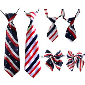 50PC Lot Pet Dog Bow Ties Adjustable Stripes Stars Large Dog Ties for 4th July Dog Neckties Pet Supplies