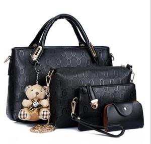 Venta caliente de la moda bolsos para mujer cachorros de oso de cuatro piezas bolso de la madre hombro Messenger bags + wallet + Card 4pcs para el conjunto 8color XXPJ2015 Envío gratis